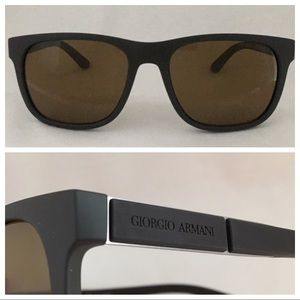 G ARMANI *Polarized* AR8037 Brown Rubber 56